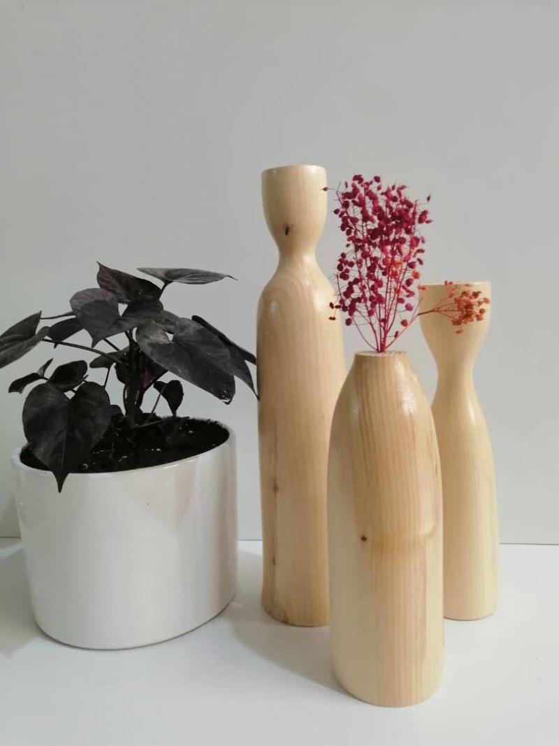ست گلدان و شمعدان چوبی | کد 190A